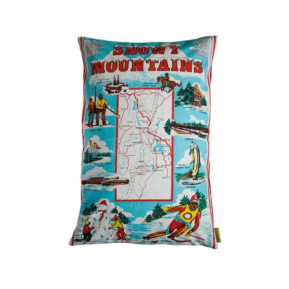 AUSTRALIA DAY Cushion Snowy Mountains Pillow remade from Vintage Tea Towel Ski Snow Cushion