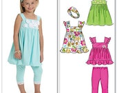 Children's and girls' top, dresses, leggings and headband pattern, McCall's 6019 FREE SHIPPING