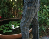 Dark Grey Checked Printed Cotton Unique Long Pants