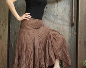 Lovely brown cotton long chic skirt