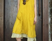 Simple chic..Sun flower tone Light Cotton Dress with two layers,plus size,sun dress,strapless dress