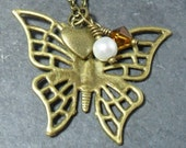 Pretty Antiqued Bronze Butterfly & Charms