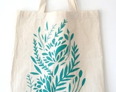Turquoise Floral screen printed tote bag