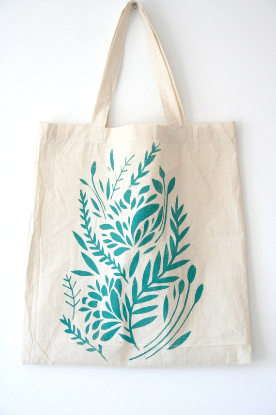 Items Similar To Turquoise Floral Screen Printed Tote Bag