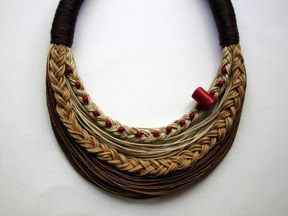 Statement  fiber necklace with red coral Spring Summer Collection