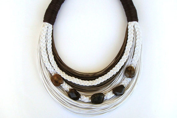 Fall Sale-Was 45 Now 40usd-White and Brown beaded statement necklace