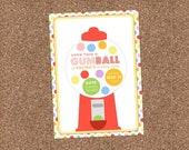 Gumball Birthday Invitation - DIGITAL FILE (I design, you print)-perfect for a sweet candy shop birthday party