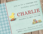 PRINTED Vintage Pull Toy Invitation - boy - perfect for a birthday party for any little girl or boy - customized to any color