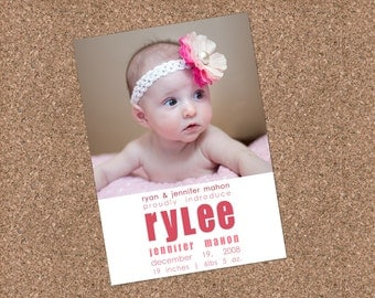 Custom Photo Birth Announcement - Rylee