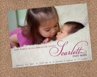 Custom Photo Birth Announcement - Scarlett