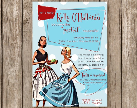 Bridal Shower Invitation - Perfect Housewife  - 50s Retro Party Invite - DIGITAL FILE - I design, you print