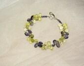 Gem Quality Iolite and Lemon Quartz Briolette Bracelet