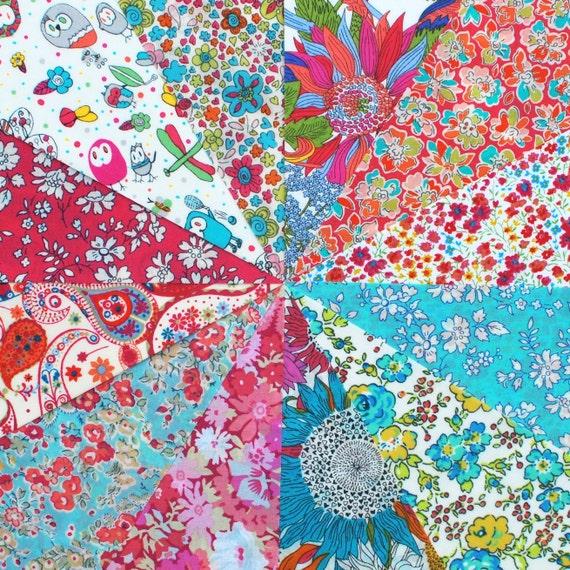 12 Liberty Tana Lawn fabric 6 inch patchwork charm squares - HOT PINK & AQUA