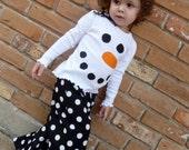 Girly Snowman Shirt and Ruffle Pants