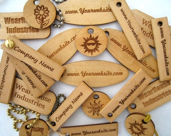 Laser Engraved Pine Wood Tags   (set of 24)
