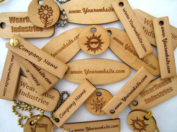 Custom Laser Engraved Pine Wood Tags   (set of 25)