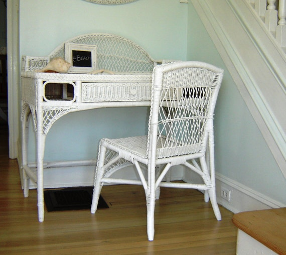Vintage White Wicker Desk Amp Chair Or By Seasidefurnitureshop
