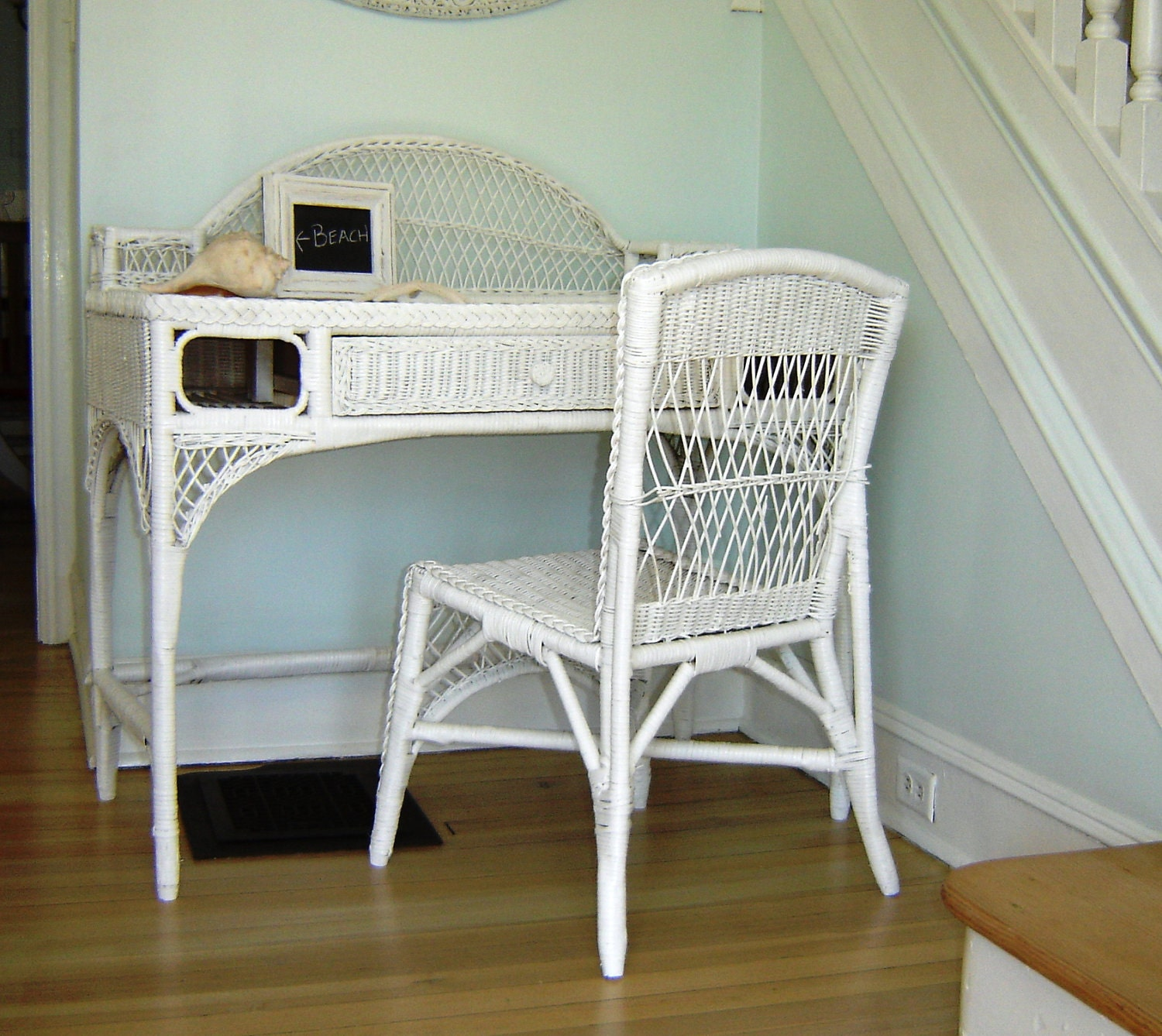 Vintage White Wicker Desk & Chair Or Vanity