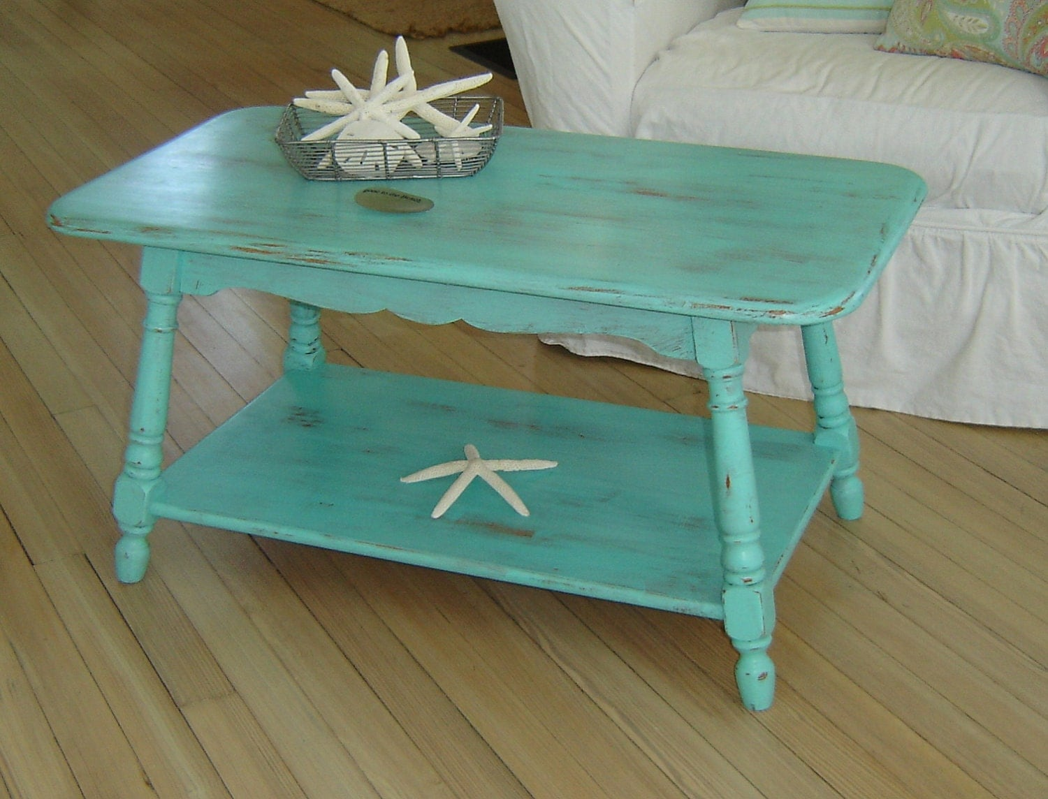 Save For Patty Very Beachy Vintage Aqua Coffee Table