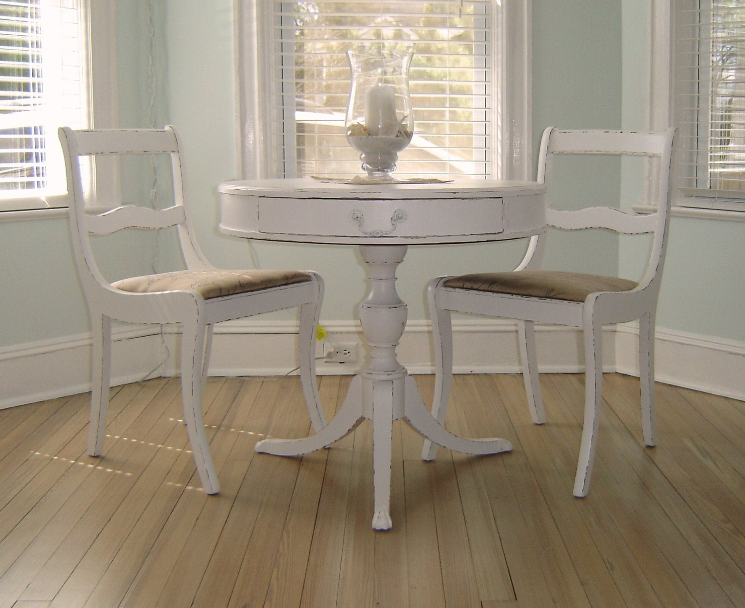 French Shabby Chic White Bistro Set 2 Chairs & Table