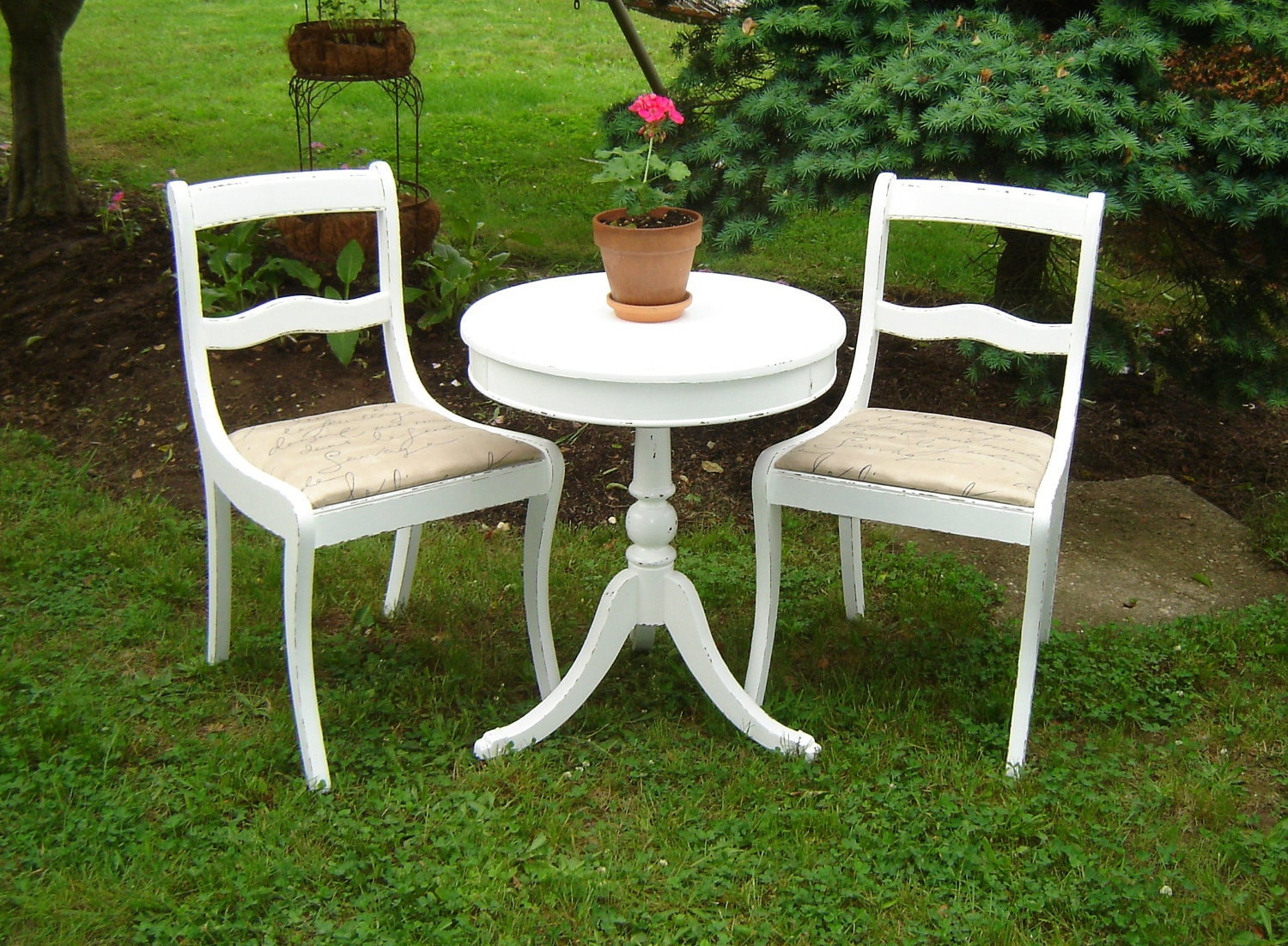 White Vintage Shabby Chic Bistro Set 2 Chairs 1 Round Table