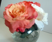 Silk Roses Arrangement In a 5 Inch Bowl Vase Has 2 Peach Roses And 2 Cream Roses