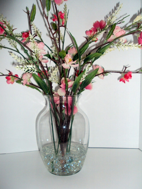 Silk Floral Arrangement With Small Pink By Illusioncreations