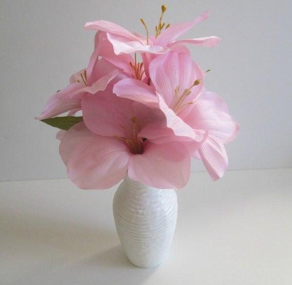 Silk Floral Arrangement Pink Amaryllis In Painted White Vase