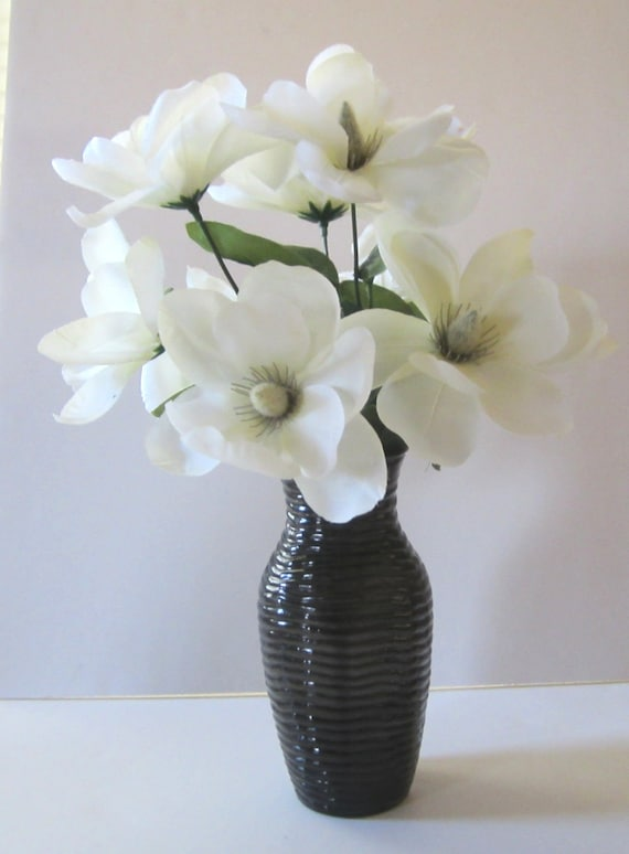 Silk Floral Arrangement In A Black Vase With White Flowers