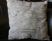 Sale - While they last,  French Map Linen Pillow