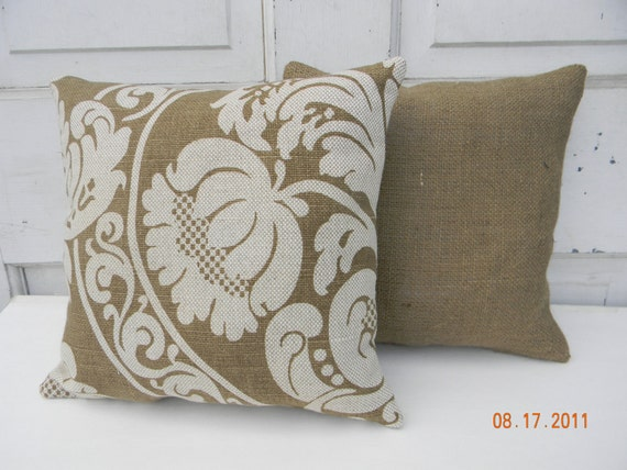 Brown Toned Burlap and Linen Pillow Set of Two