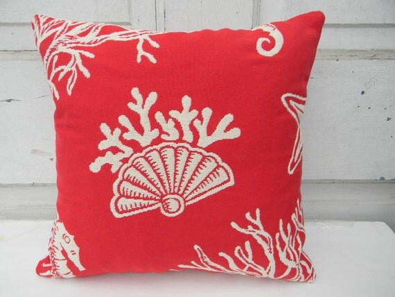 Bright Red Seaside Pillow
