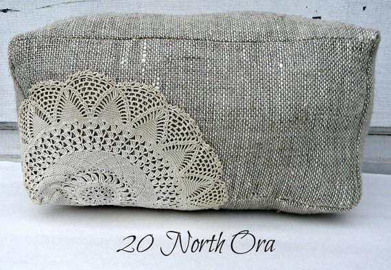 Rectangle Burlap Pillow w/Vintage Doily