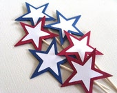 Red White and Blue Stars, Cupcake Toppers, Party Decor, 4th of July, Patriotic, Set of 15
