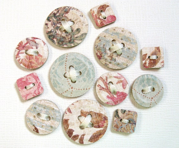 12 Shabby Chic Paper Buttons, Punched, Embossed, Chipboard-Like, Embellishments
