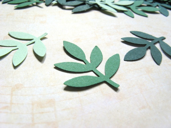 100 Punched Leaf Fronds, Confetti, Embellishments
