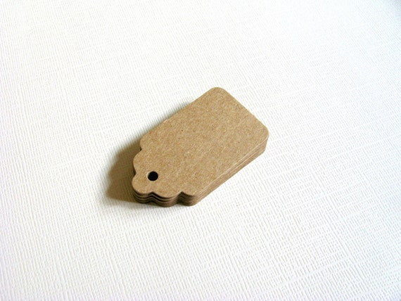 30 Small Kraft Tags, Gift Tags, Party Favor Tags, Scalloped, Price Tags, Mini Kraft Tags