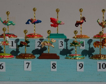 """Dollhouse Miniature Carousel Stand Figurine Kit- 1"""" or 1/2"""" scale- choose from 33 animals"""