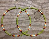 Native American Style Beaded Small Olive Hoop Earrings