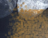 Etching Print.. Monoprint . Abstract Art: Terrain 36 ( in Navy Blue and Yellow Ochre)