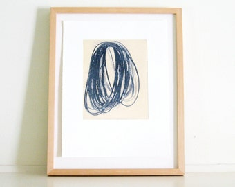 """Sale . Etching Art Print . Minimalist Home Decor . Gifts under 100: Timing ( In navy blue) . Print Size 13"""" x 17"""" unframed ."""