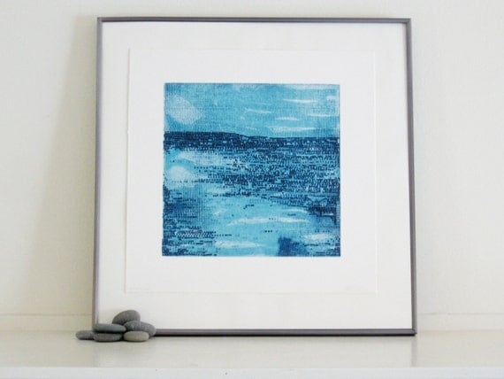 Etching Print . Modern Home Decor: Strata in Light Blue