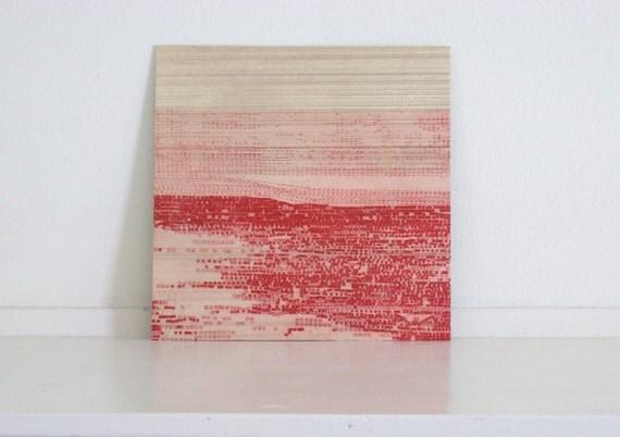 Etching .  Minimalist Art Print: Striation 4 (in Red)