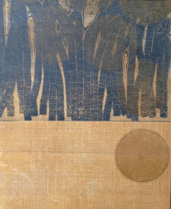 Modern Etching Print: Between the Bars