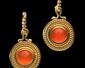 Old World Gold Carnelian Earrings RESERVED for ELLENSIGERSON only