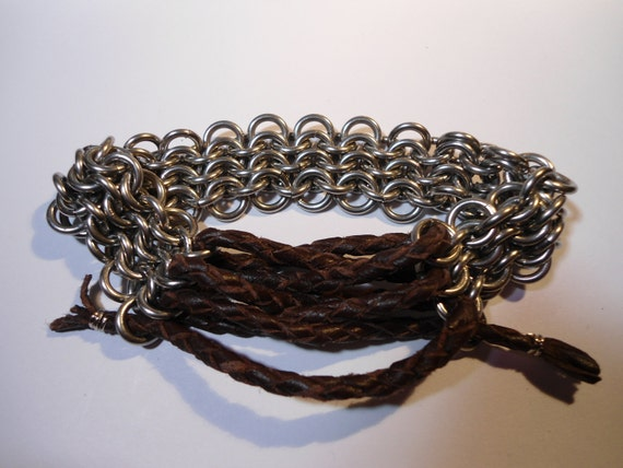 Men's Chain Mail and Leather Bracelet