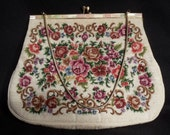 VINTAGE Floral Needlepoint Purse With Mother Of Pearl Trim