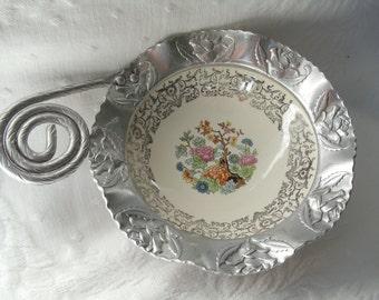 VINTAGE Farber & Shlevin Inc Hand Wrought Aluminum and Porcelain Bowl