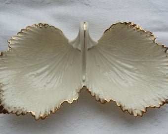 VINTAGE Lenox China Monticello Double Leaf Serving Dish With Handle 24 Karat Gold