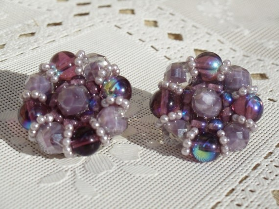 VINTAGE Purple And Lavender Stone Earrings